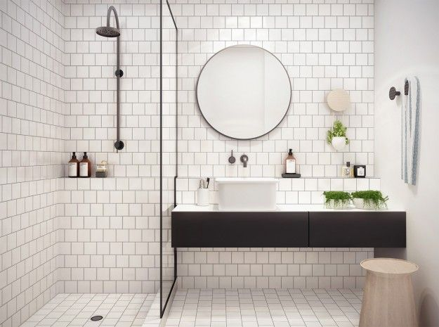 bathroom with offset square tile #bathroom tiles, shower, vanity, mirror, faucets, sanitaryware, #interiordesign, mosaics, modern, jacuzzi, bathtub, tempered glass, washbasins, shower panels #decorating