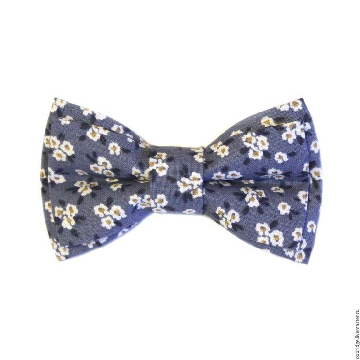 Купить Галстук-бабочка синего цвета в цветочек - галстук бабочка, галстук бабочка купить