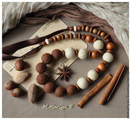 """Бусы """"Хлопковый Мед"""" - коричневый,бусы,войлок,валяные,дерево,слива,можжевельник"""