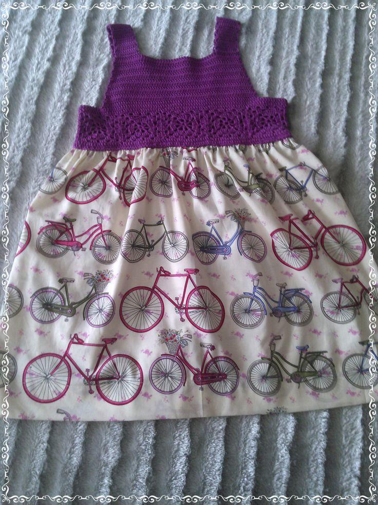 Vestido veraniego!!!, de ganchillo y tela de bicicletas.