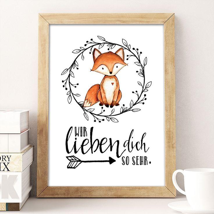Wir lieben dich so sehr – Fuchs – Kunstdruck A4 Super süße Deko für das Kinderzimmer mit einen ganz lieben Spruch. Ein tolles Geschenk für Kinder und Eltern.