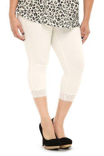 White Lace Leggings Plus Size