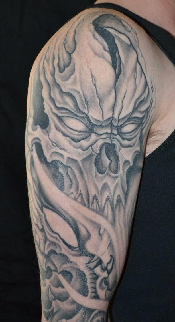 Half Sleeve Skull Tattoos