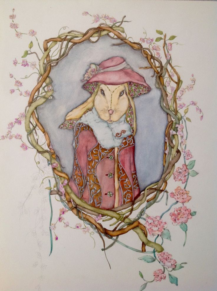 Rabbit illustration watercolor