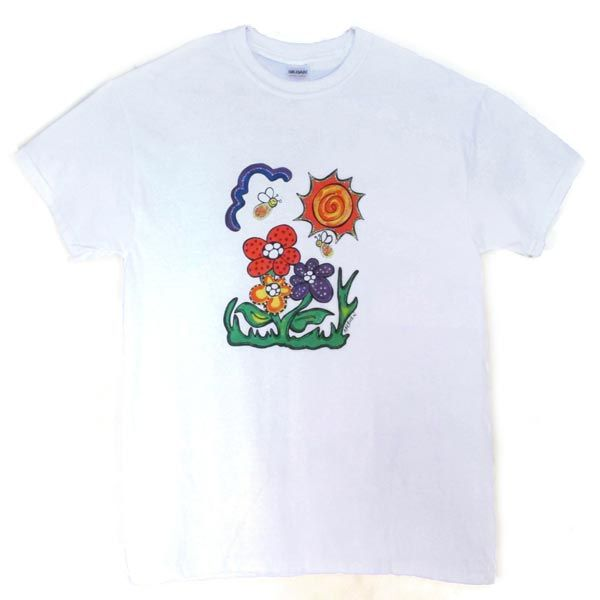 This is an Adult T-Shirt, Flower Power Design.
