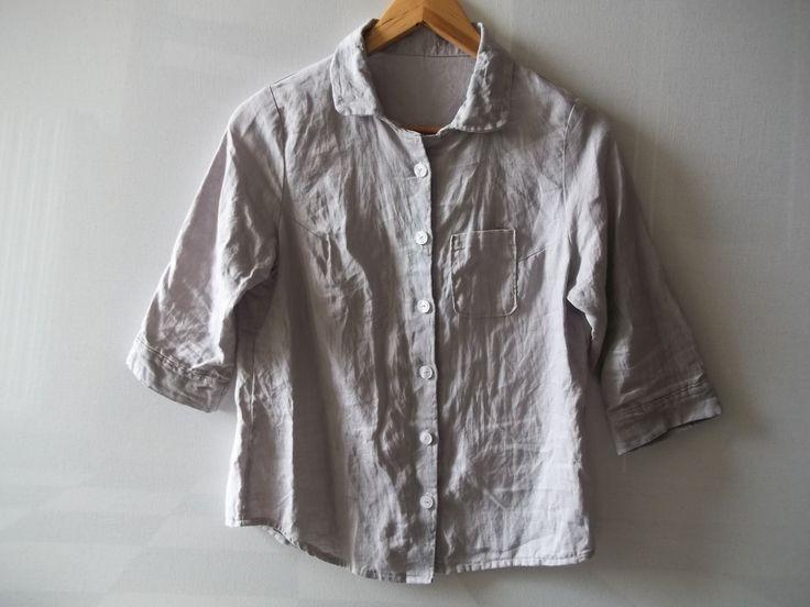 """Chemise en lin bleu clair, manches trois quarts, modèle """"Summer"""" : Chemises, blouses par latribudici"""