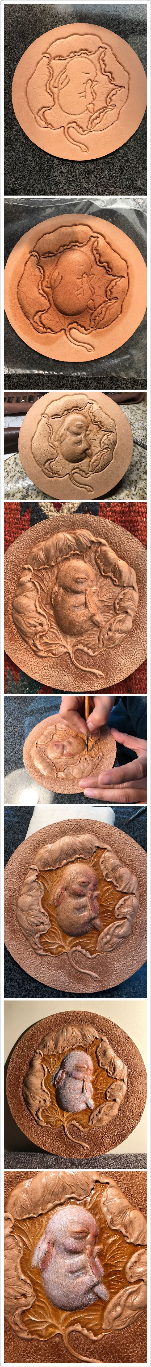 The procedure of Lovely rabbit leather carving#Leather #carving