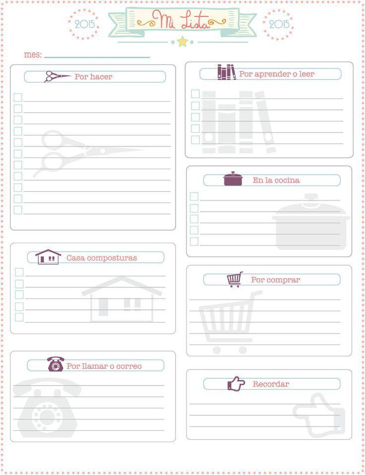 Listas imprimibles para organizar tu vida.