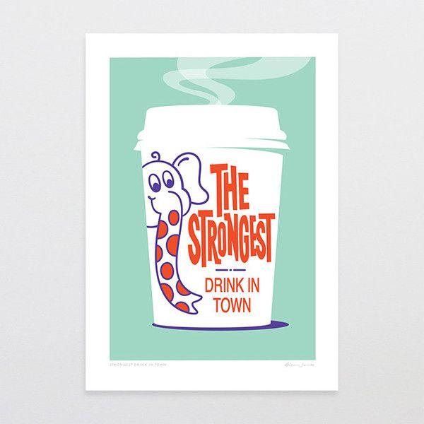Strongest Drink in Town - Art Print by Glenn Jones Art - art to make you smile. Available in a range of sizes. Click image to buy online. www.glennjonesart.com
