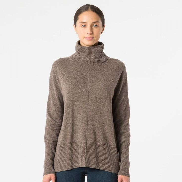 Relaxed Hi Lo Mock Sweater   Autumn Cashmere