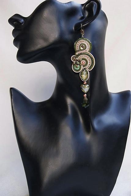 Long Soutache Earrings - Je t`aime by BeadsRainbow, via Flickr