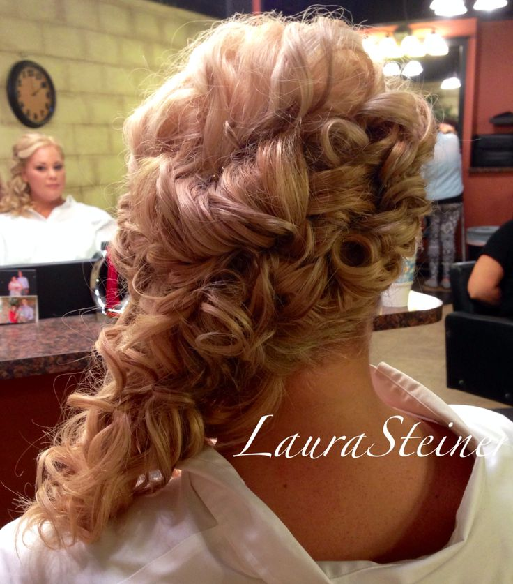 Curls To One Side Wedding Hairstyles: Bridal Updo With Cascading Curls Off One Shoulder. Lots Of