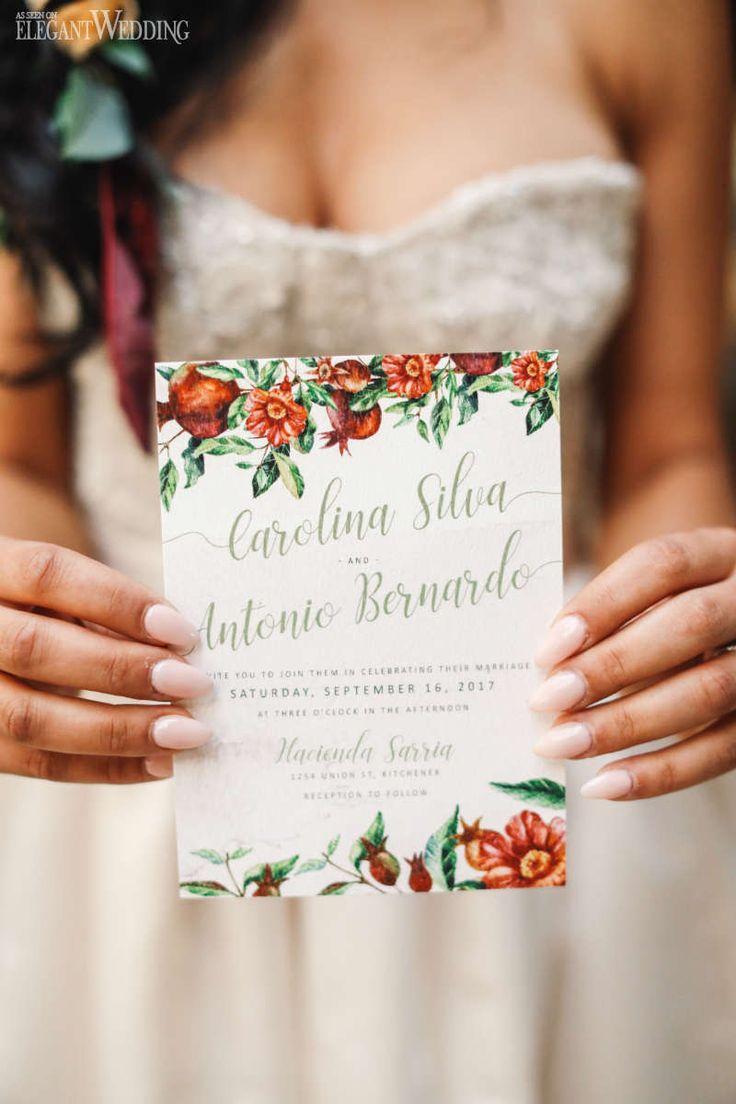 sample spanish wedding invitations%0A Red Floral Wedding Invitations  Floral Outline Wedding Invitations  Spanish  Wedding Invitations   ElegantWedding