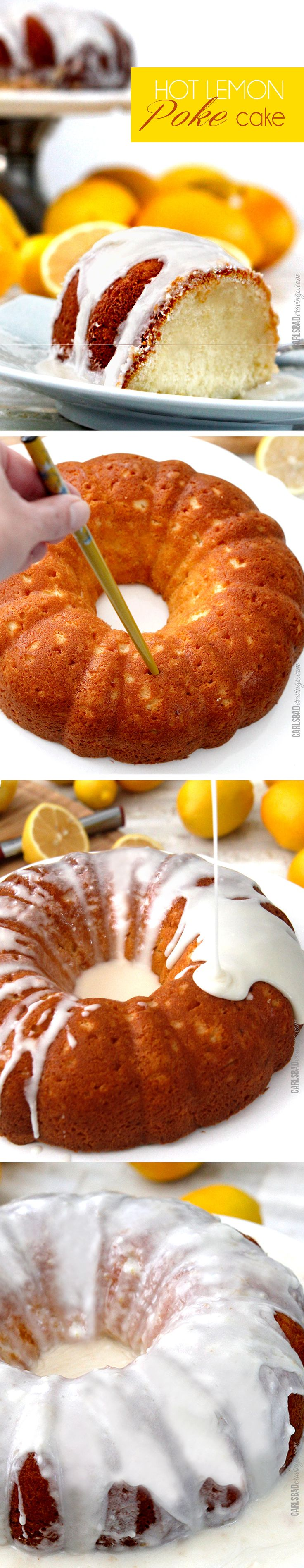 Perfect for Christmas! Award winning Hot Lemon Poke Cake - moist, sweet, lemon cake with the most amazing sweet citrus glaze seeping into the cake. I make this for all my company! and its so easy!