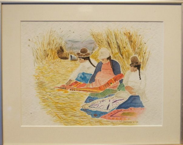 Women from Ecuador.   Watercolor.        Signed by Wilma                                     www.werkvanwilma.nl