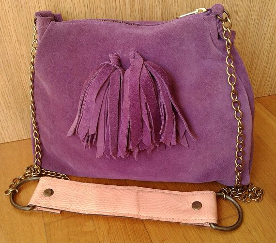 Purple Leather Tassel Shoulder Bag Purple Suede by MikaMikaBags