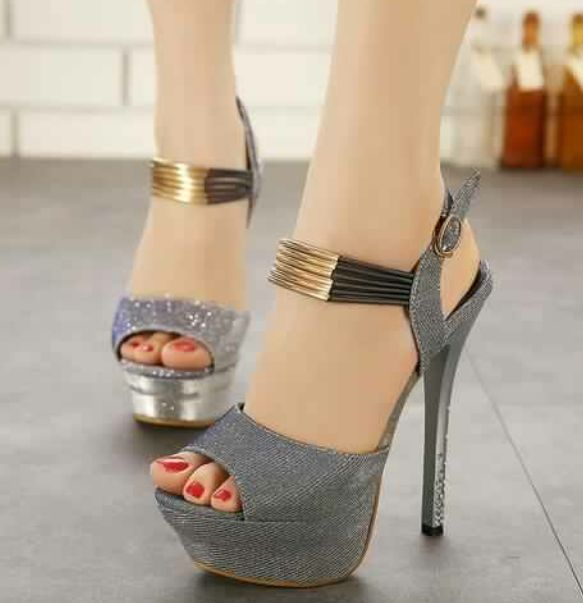 Cheap Trendy Peep Toe Thin High Heels Pumps A Buckle Glittering Wholesale  Pumps Online Shopping From China.