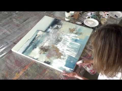 Acrylic painting abstract – Collage, Teer, Pigment…