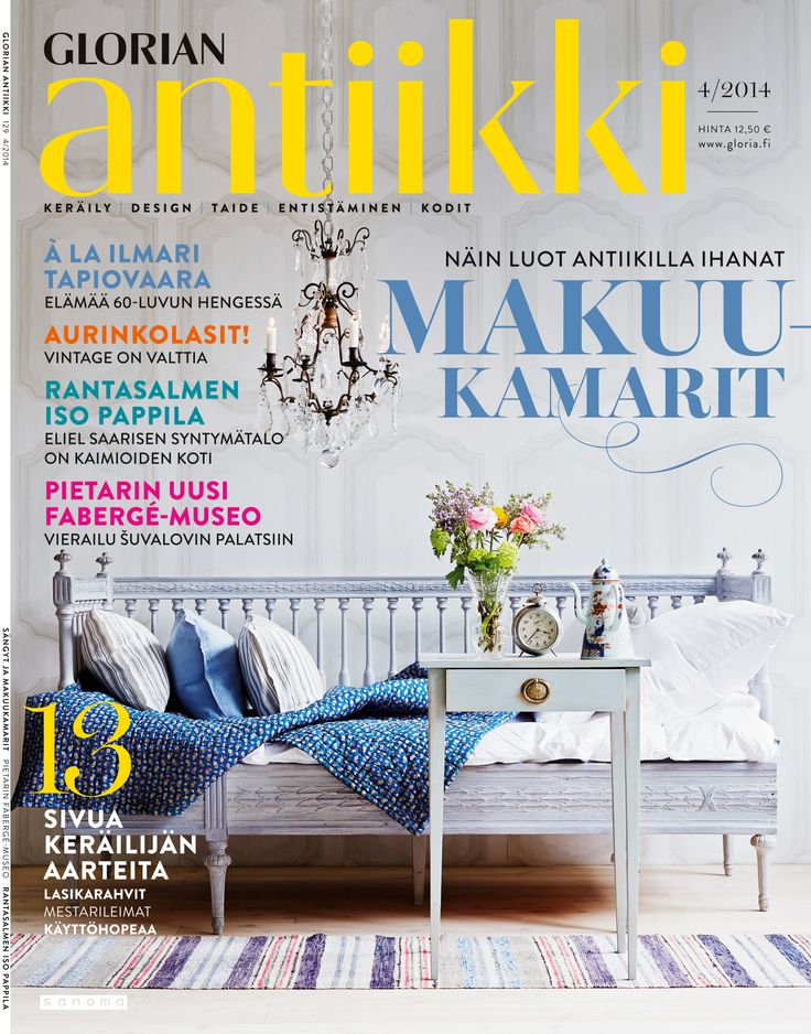 Magazine cover 4/2014. A Gustavian sofa bed from Stockholm as an example of how to use antique furniture at home. Photo: Päivi Ristell.