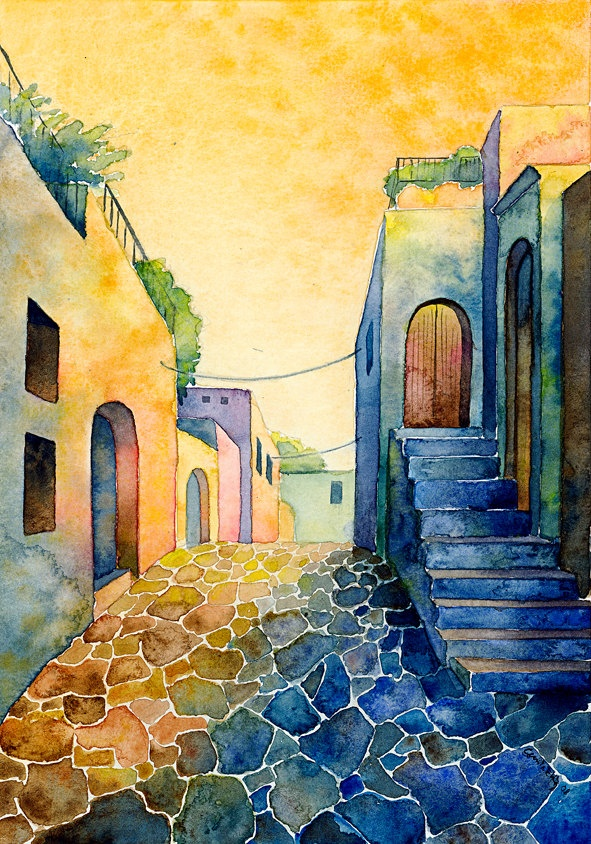 Greece 2 - print, watercolor, 13 X 18 cm, town, street, warm, Mexico, Spain, vivid colors, expressionist, free shipping. $3.70, via Etsy.