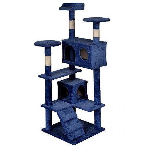 BestPet Navy Blue Cat Tree Tower Condo Furniture Scratch Post Kitty Pet House
