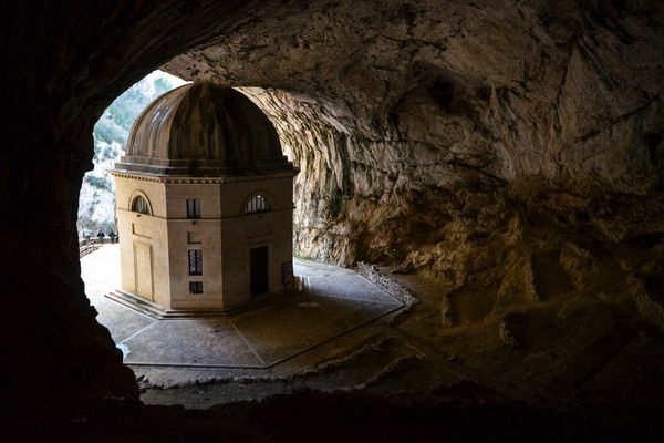 This domed temple was built in a hidden cave mouth as a refuge for sinners seeking absolution