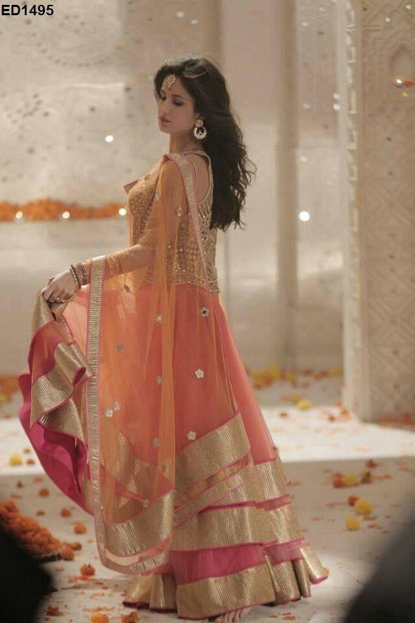 Woman Bridal Wedding Lehanga Choli Celebrity Fashion Trends Anarkali Lehnga Top