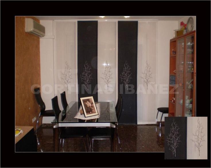 Panel japones 5 vias con paneles bordados cortinas - Paneles japoneses cortos ...