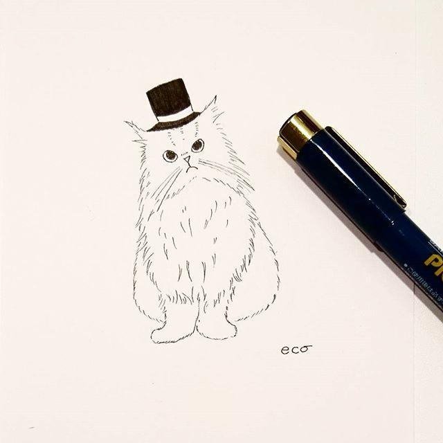 . 🎩シルクハットのgentlecat . ぺんで描いてみました🐱 . . .  #ネコ#ねこ#猫#アート #ライフスタイル#絵画 #美術展#パリ#詩 #絵本#絵#エッセイ #愛猫#ペルシャ#本 #にゃんすたぐらむ  #art #ペン画 #culture#japan #lifestyle#exhibition  #follow#followme #cat#paris #love#art #gallery#catstagram #andcat