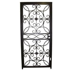 Grisham, 467 Series 36 in. x 80 in. Black Prehung Universal Hinging Outswing Wrought Iron Security Door with Double Bore Lockbox, 46799 at The Home Depot - Mobile