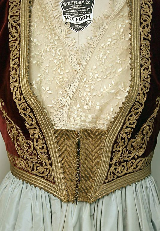 Ensemble  Date: 1835–1949 Culture: Greek Medium: silk, wool, metallic Dimensions: Length at CB (a): 56 in. (142.2 cm) Length at CB (e): 14 in. (35.6 cm) Diameter (f): 8 in. (20.3 cm) Credit Line: Gift of Marvin B. Patterson (Mrs. Jefferson Patterson), 1978 Accession Number: 1978.582.231a–f