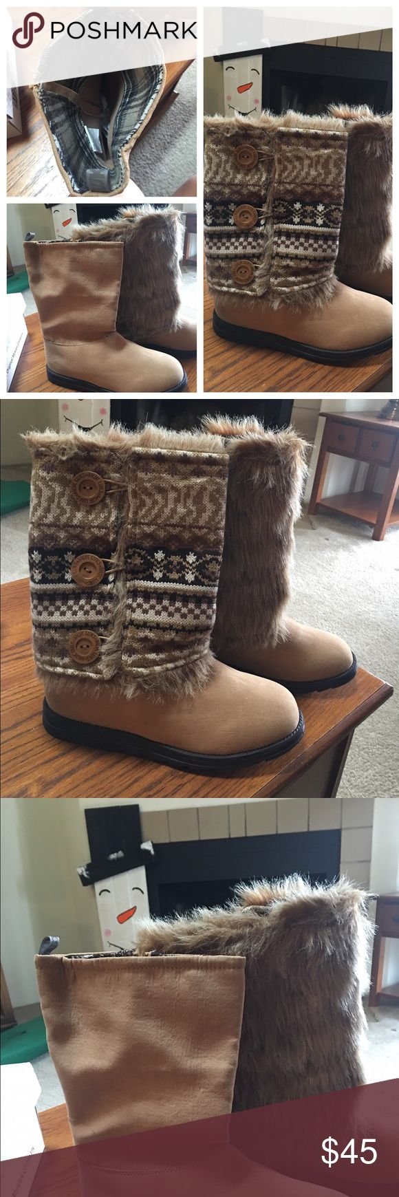 MUK LUK versatile boots BRAND NEW NEVER WORN! These boots can be worn multiple ways as shown. Size 9! Muk Luks Shoes Winter & Rain Boots