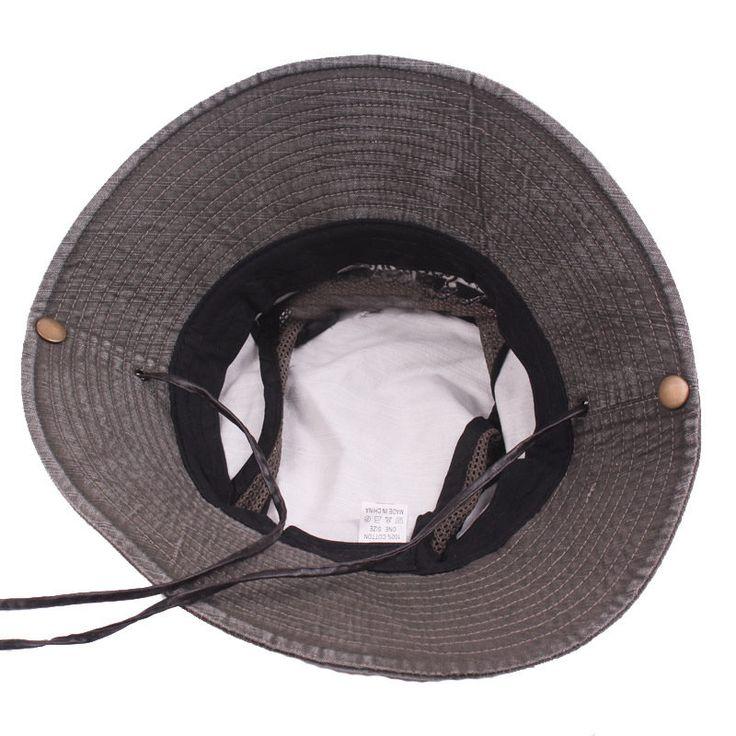 Mens Summer Cotton Embroidery Visor Bucket Hats Fisherman Hat Outdoor Climbing Mesh Sunshade Cap