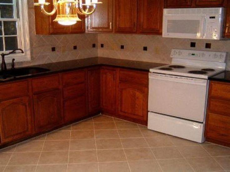 Cross Kitchen Floor Tile Beige Colors Unique Design L Shape Kitchen Wooden Brown Cabinet With Black Marble Countertop And Tile Flooring Ideas Tile Kitchen