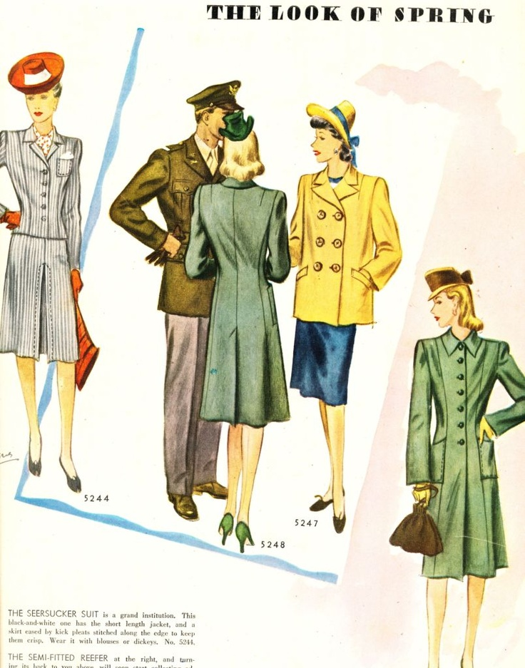 what-i-found: The Look Of Spring - Box Coat And Reefer - 1943 McCalls Magazine: April 1943, Fabulous Forty, Flying 40S, Boxes Coats, 1943 Mccall, 1940S Inspiration, 1940S Style, Mccall Magazines, Flying Forty