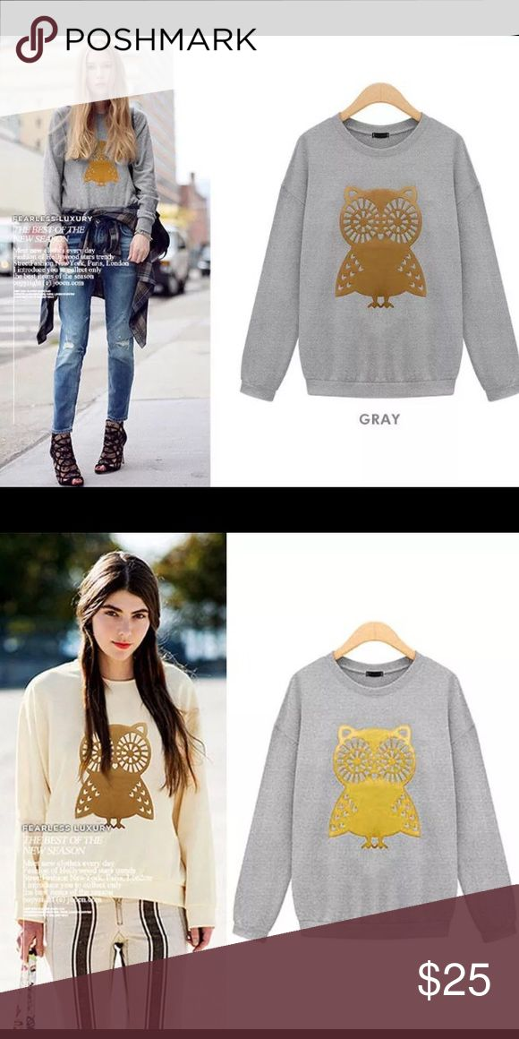 Cute Little Owl Sweater Hit up winter in style. These owl sweaters are adorable and incredibly versatile!  I have GRAY: S/M/L and WHITE: M Sweaters Crew & Scoop Necks