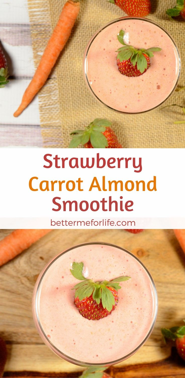 Who knew getting your vegetables could be this yummy? This strawberry carrot almond smoothie is the perfect blend of fruits and vegetables. Find the recipe on BetterMeforLife.com