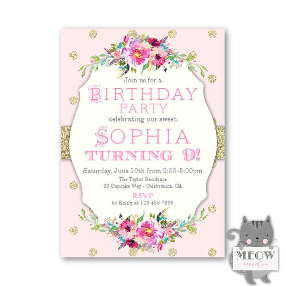 Pink Gold 9th Birthday Party Invitations Girls