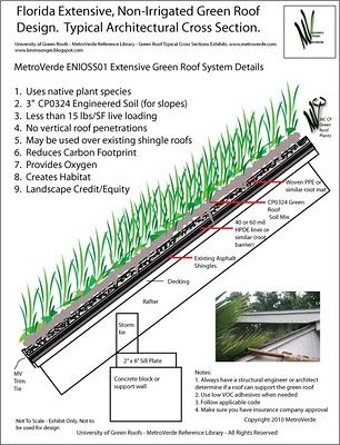 Sloped Green Roof Section Detail Row Home Design
