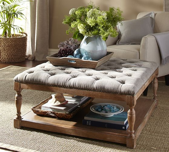 Cassandra Upholstered Storage Ottoman | Pottery Barn $640 With Discount ·  Tufted Ottoman Coffee TableWood ...