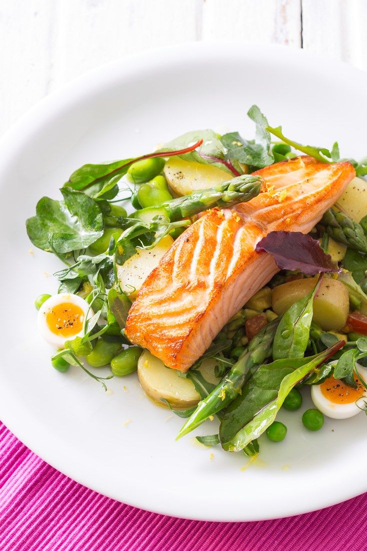 This colourful pan-roasted salmon recipe from Michael Caines is packed with colourful, nutritious vegetables and served with a creamy avocado salsa.