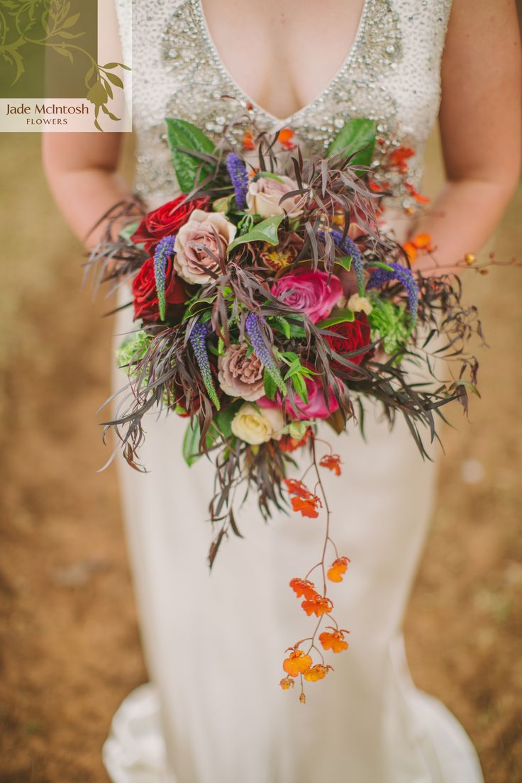 We can never think of what to say about this one. Do we talk about the colours - pinks, lattes, purples, greens and vibrant orange - or the wild, unstructured arrangement, or the textures? It's definitely one of our favourites! www.jademcintoshflowers.com.au