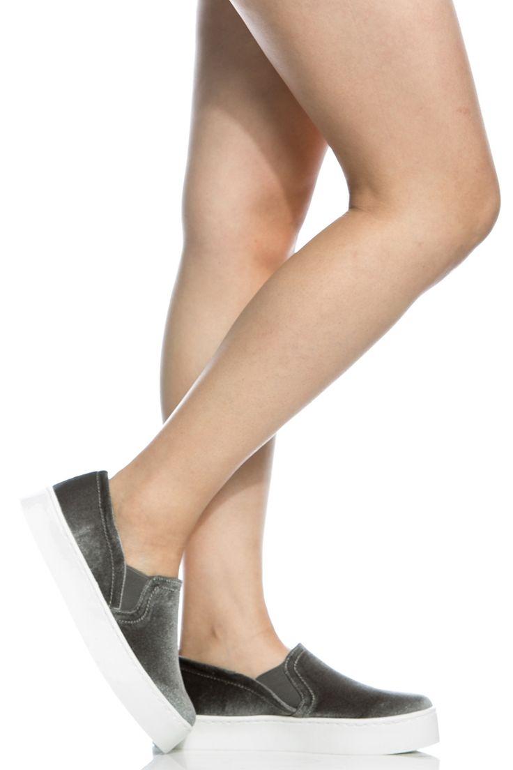 Grey Velvet Flatform Slip On Sneakers @ Cicihot Women Sneakers-Fashion Sneakers,Casual Sneakers,Wedge Sneakers,Platform Sneakers,Hidden Wedge Sneakers,High Top Sneakers,Lace Up Sneakers,Studded Sneakers,Buckle Sneakers