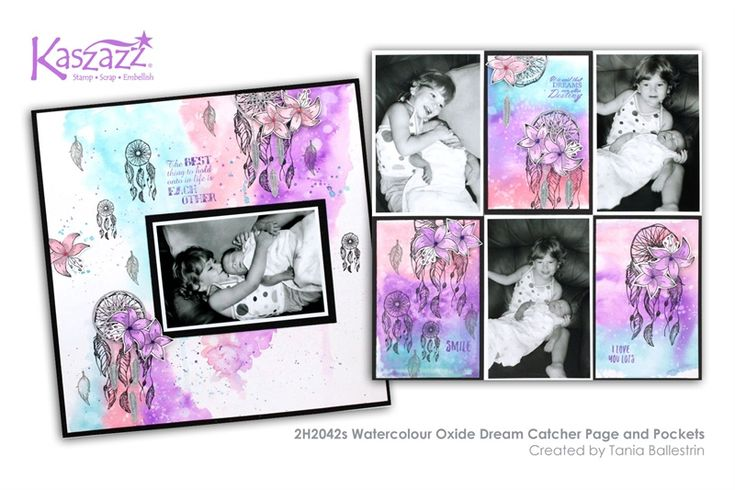 2H2042s Watercolour Oxide Dream Catcher Page and Pockets