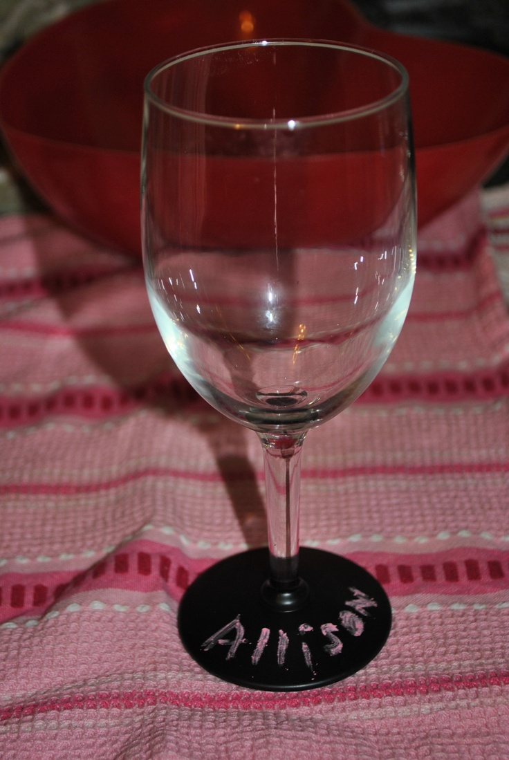 Wine Glasses Sprayed With Chalk Board Paint Personalized Wine Glasses Wine Night Wine Glasses