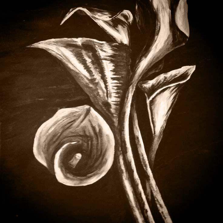 Calla lilies. Black & white acrylic