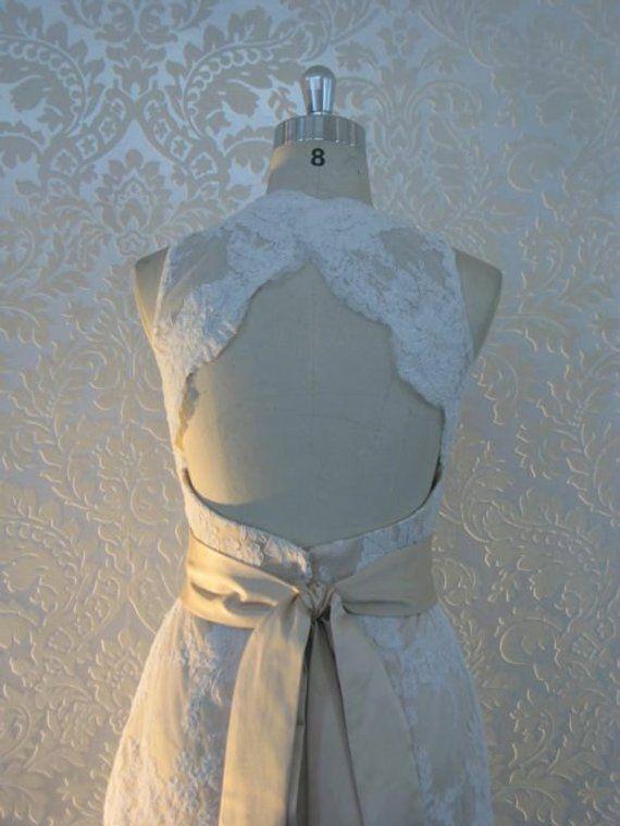 Gorgeous Lace Wedding Dress with Keyhole Back V-Neckline and Sash Backless