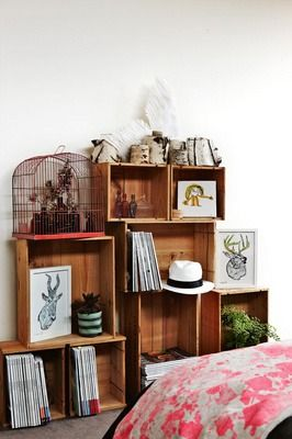 REMAKE   DIY shelves made from wooden boxes