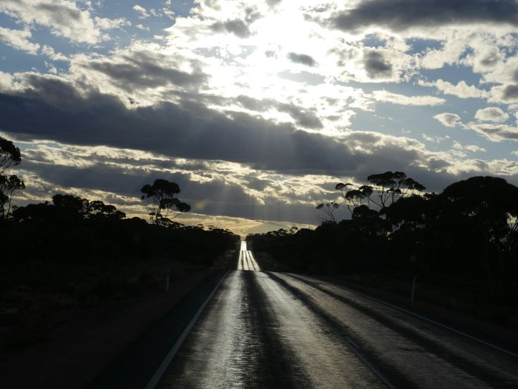 Eyre Highway at sunset, Balladonia to Nirseman, Australia