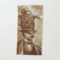 The Projectionist (sepia option) Beach Towel #society6 #summer #beach #towel #beachtowel #art #illustration #design #vintage #victorian #tophat #surreal #film #projector #steampunk